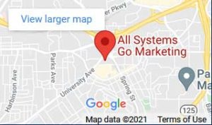 Location map of All Systems Go Marketing